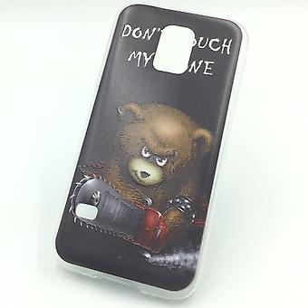 Handy Hülle für Samsung Galaxy S5 Mini Cover Case Schutz Tasche Motiv Slim Silikon TPU Schriftzug Bär mit Kettensäge