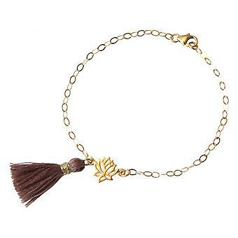 Damen - Armband - 925 Silber - Vergoldet - Lotus Blume - Quaste - Rose - YOGA - 4 cm