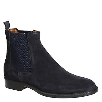 Men's blue suede chelsea boots made in Italy