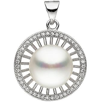 Trailer around 925 sterling silver 1 Freshwater Pearl with cubic zirconia beads pendant