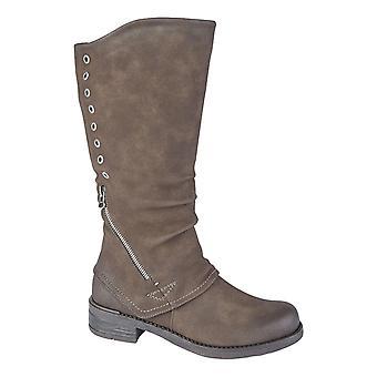 Ladies Womens Low Block Heel Inside Zip High Leg Boots Shoes