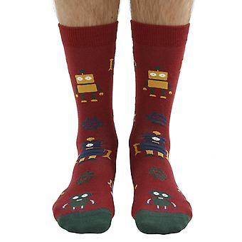 Robot soft bamboo organic crew socks in earth | By seriouslysillysocks