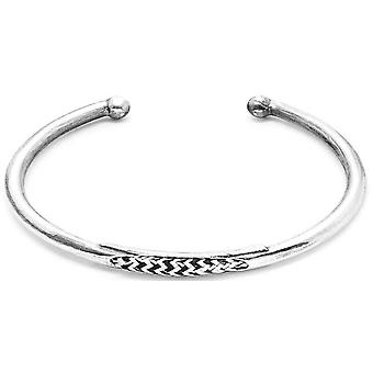 Anchor and Crew Trent Silver and Rope Bangle - White Noir
