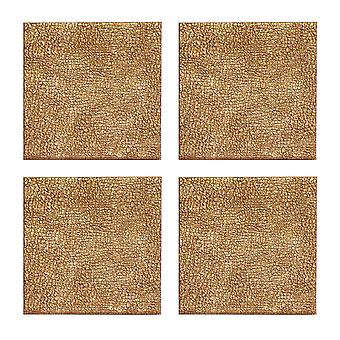iStyle Set of 4 Metallic Faux Leather Coasters, Gold
