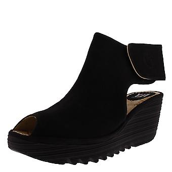 Womens Fly London Yone Leather Wedge Heel Peep Toe Cut Out Ankle Boots