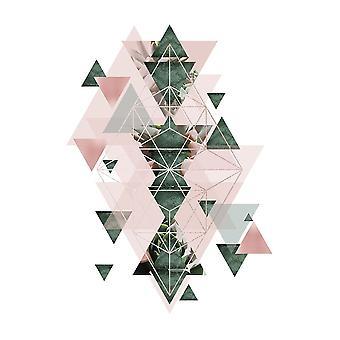 Pink Green Geometric 2 Poster Print by Urban Epiphany