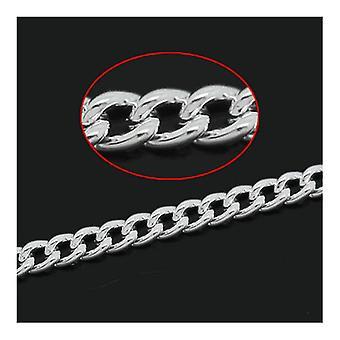 10m x zilveren vergulde ijzeren legering 1,5 x 2mm, gesloten Link-gesoldeerd Curb Chain CH3040