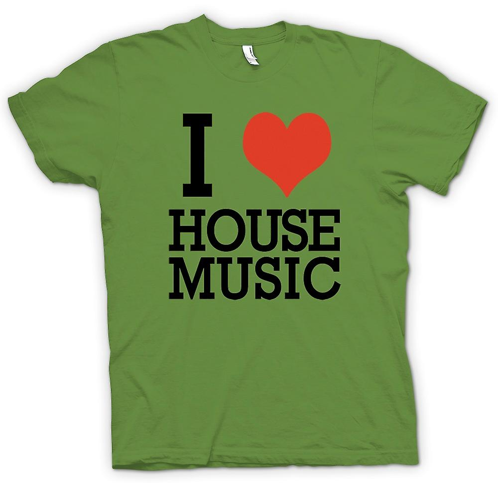 Hommes T-shirt - I Love Heart House Music - DJ