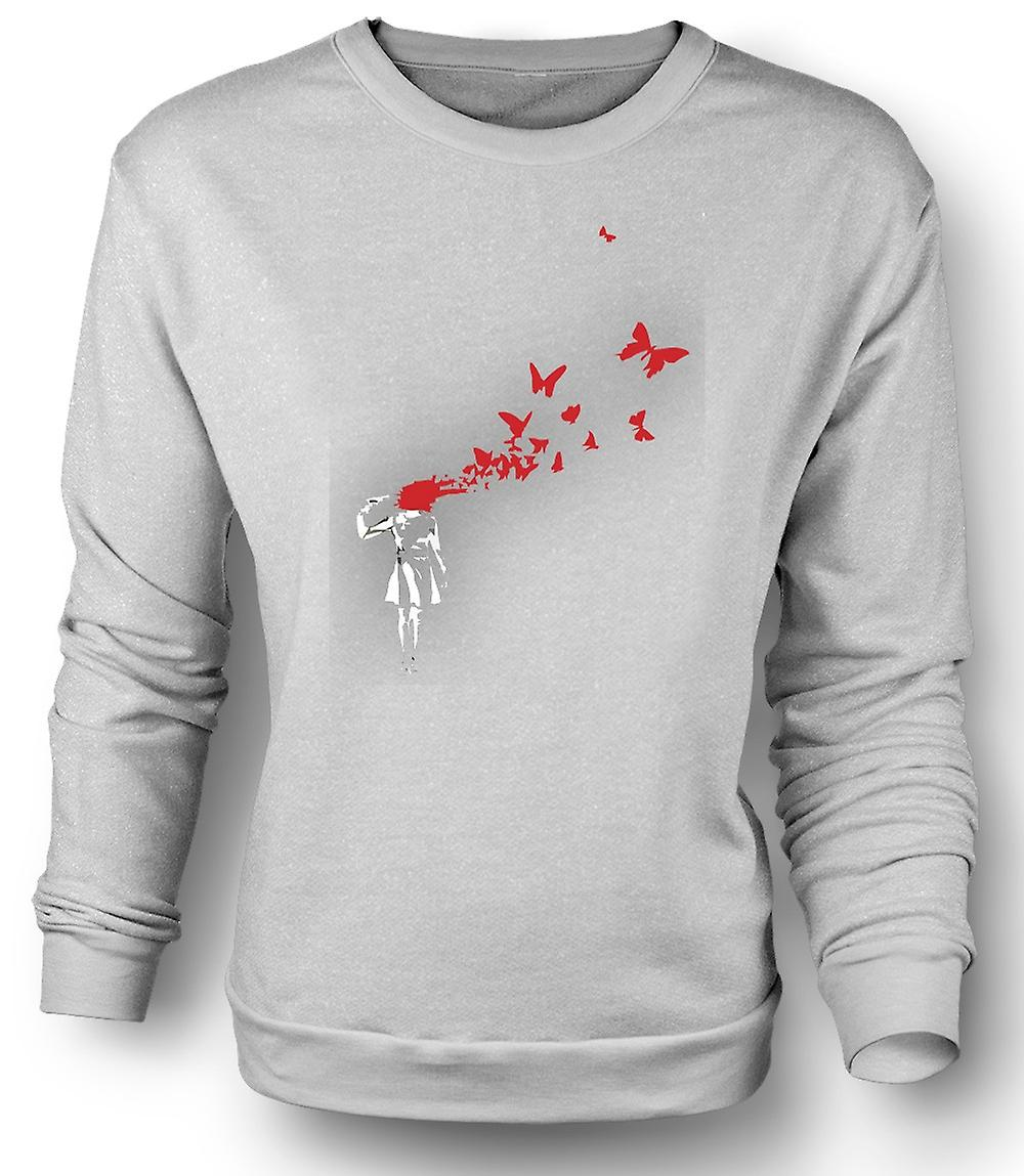 Mens Sweatshirt Banksy Graffiti Art - Butterly