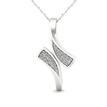 IGI Certified 10K White Gold 0.05ct TDW Diamond Bypass Style Pendant Necklace