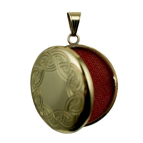 9ct Gold 29mm celtic engraved round Locket