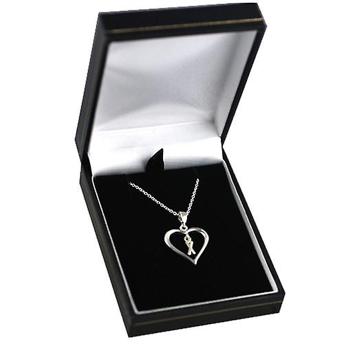 Silver 18x18mm initial X in a heart with rolo chain