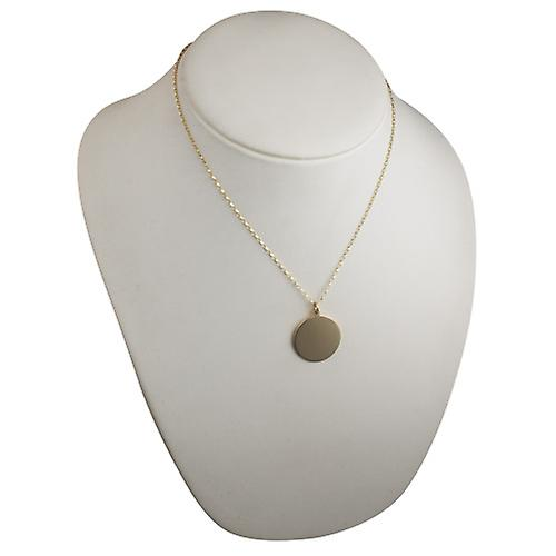 9ct Gold 26mm plain round Disc with a belcher Chain 18 inches