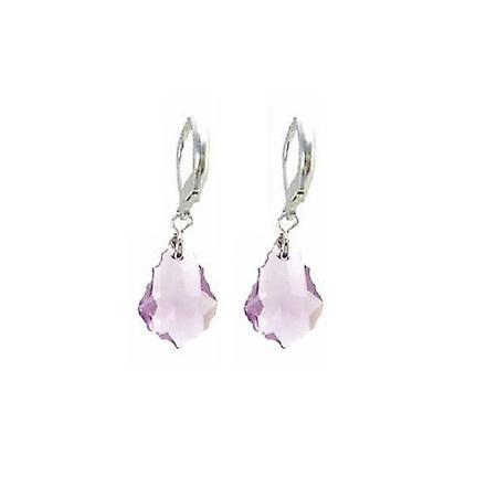 Lite Amethyst Baroque Swarovski Crystal Sterling Earrings