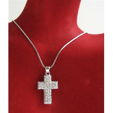 Fully Embedded Cross Pendant Cubic Zircon Very Classy Pendant Necklace