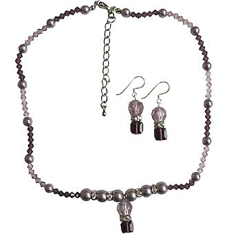 Amethyst Swarovski Crystals Beaded Jewelry Grey Pearls Silver Earrings