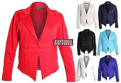 Ladies Fitted Plus Size Ruched Sleeve 6 Button Blazer Jacket Women's Coat