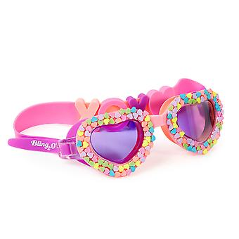 Girls pink heart shaped fun swimming goggles
