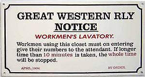GWR Workmen's Lavatory enamelled steel sign