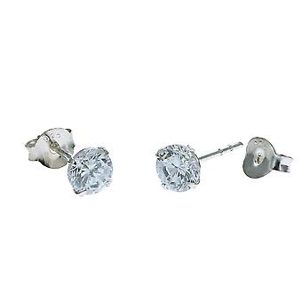 Toc Sterling Silver Sparkling 4mm Round Cubic Zirconia Earrings