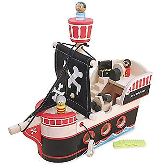 Indigo Jamm Jolly Jack's Pirate ship - Complete With 3 Wooden pirates, A Treasure Chest, Crocodile & Canon