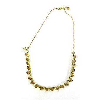 Kleshna Honey Brown Rhinestone & Goldtone Maya Necklace - 20 Inches