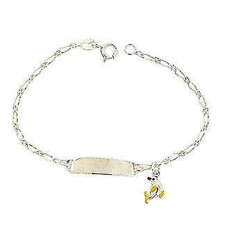 TOC Girls Sterling Silver Yellow Dolphin Charm Identity Bracelet 6.5