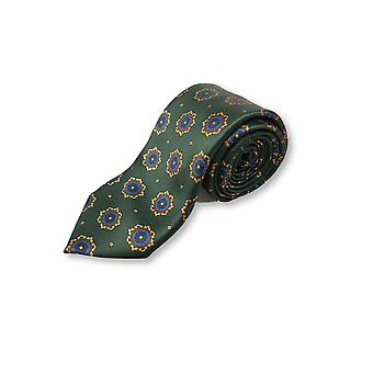 Italian Made tie in green with abstract circles design