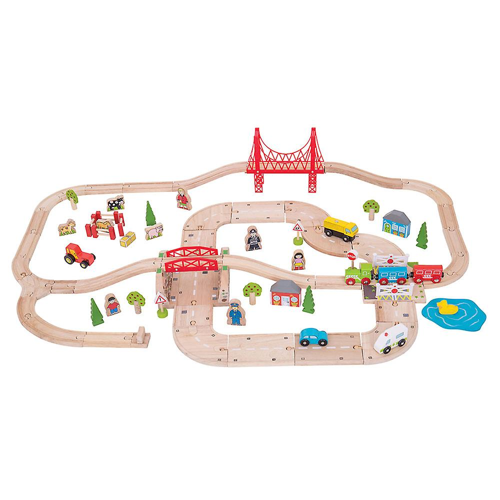 Bigjigs Rail boisen Rural Road and Rail Train Track Roadway Play Set