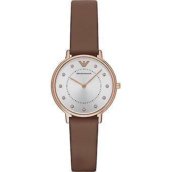 Emporio Armani Ar8040 Brown Box Set Leather Ladies Watch