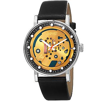 August Steiner Men's AS8183SSB Affordable Skeletal Style Quartz Watch with Leather Strap
