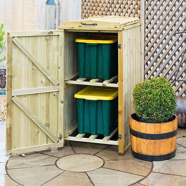 Double Recycling Box Wooden Bin Store