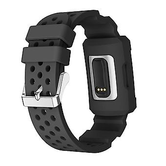 Bakeey double color silicone breathable watch band with watch protective case for fitbit charge 3