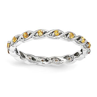 2.5mm 925 Sterling Silver Polished Prong set Rhodium-plated Stackable Expressions Citrine Ring - Ring Size: 5 to 10