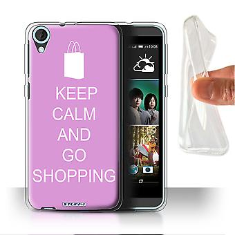 STUFF4 Gel/TPU Case/Cover for HTC Desire 820s Dual/Go Shopping/Pink/Keep Calm