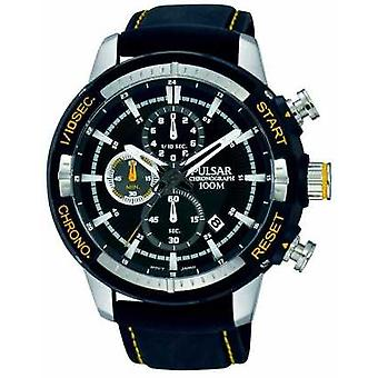 Pulsar Mens Black Silicon Strap Black Patterned Dial PM3053X1 Watch