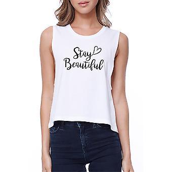 Bądź piękna z serca Crop Tee ładny biały Tank Top dla dziewczyn