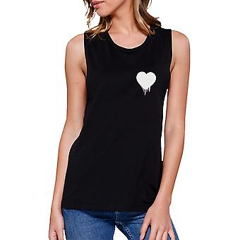 365 Printing Melting Heart Women's Black Muscle Top Cute Heart Pocket-Size Print