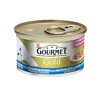 Gourmet Gold Can Double Delicacies Ocean Fish&spinach 85g (Pack of 12)