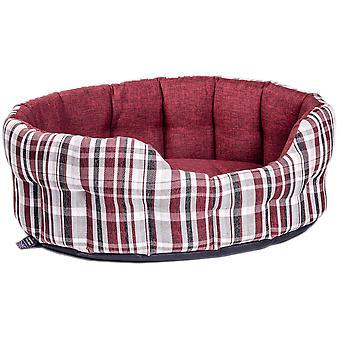 Premium Heavy Duty Antibacterial Oval Drop Front Softee Bed Plaid Design Wine Size 4 61x51x22cm
