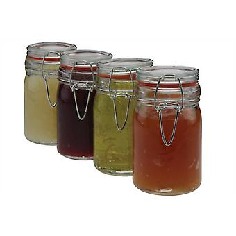 Set of 4 Clip Seal Storage Jars