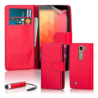 Book wallet case + stylus for LG Spirit (2015) - Red