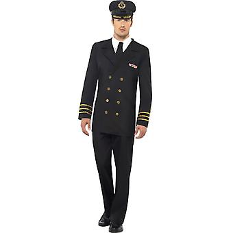 Naval Officer Costume men's black jacket trousers mock shirt and Cap