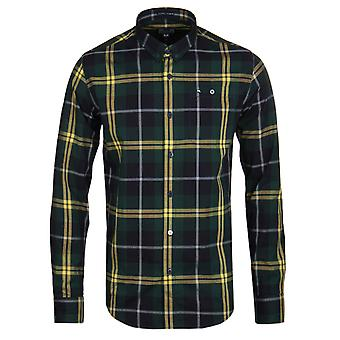 Weekend Offender Curtis Navy & Pine Check Long Sleeve Shirt
