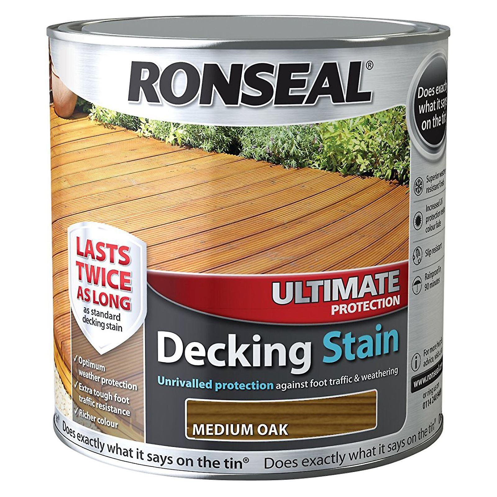 Ronseal 2.5 Litre Ultimate Protection Decking Stain - Medium Oak
