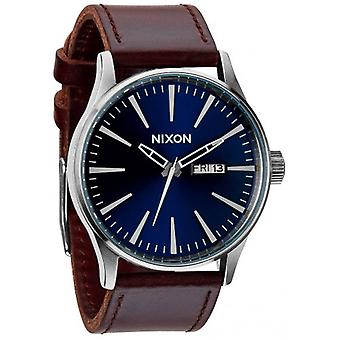 Nixon The Sentry Leather Watch - Blue/Brown