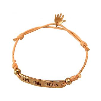 Women - bracelet - engraved - LIVE YOUR DREAMS - rose gold plated - bright coral - rose