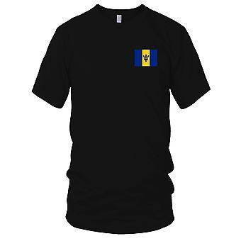 Barbados Country National Flag - Embroidered Logo - 100% Cotton T-Shirt Ladies T Shirt