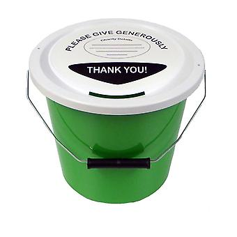3 Charity Money Collection Buckets 5 Litres - Green