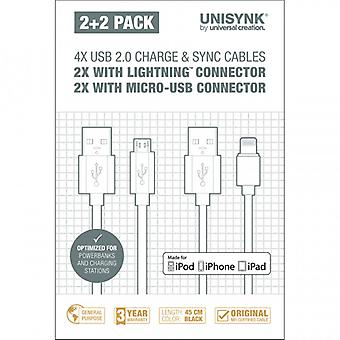 UNISYNK sync cable Kit 2 x Lightning 2 x MicroUSB